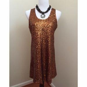 Miss Me Bronze Sequin Dress